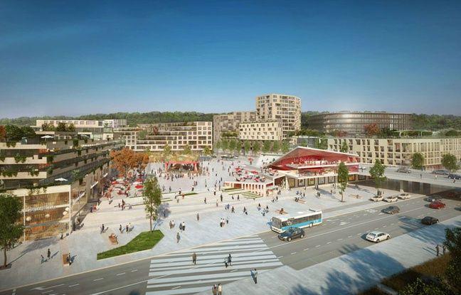 Projet de grande place publique dans le futur quartier du Belvédère, dans le périmètre Euratlantique à Bordeaux