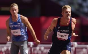 Kevin Mayer à l'arrivée du 110m haies, le 5 août 2021.