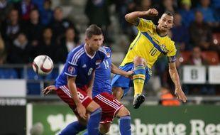 Zlatan Ibrahimovic a marqué mais raté un penalty lors de la victoire de la Suède contre le Liechtenstein (2-0), le 9 octobre 2015 à Vaduz.