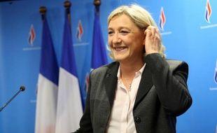 La présidente du Front national Marine Le Pen à Nanterre le 30 mars 2014