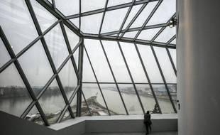 Une personne à l'intérieur du musée des Confluences à Lyon le 18 décembre 2014