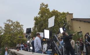 Au Flint Center de Cupertino, les médias attendent la keynote d'Apple.