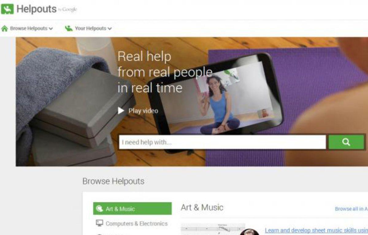 Capture d'écran du service Helpouts de Google. – DR