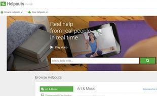Capture d'écran du service Helpouts de Google.