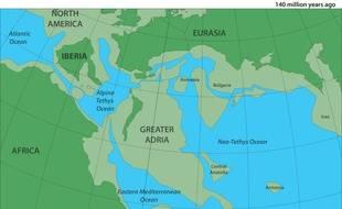 Une cartographie du Grand Adria, un très vieux continent aujourd'hui disparu.