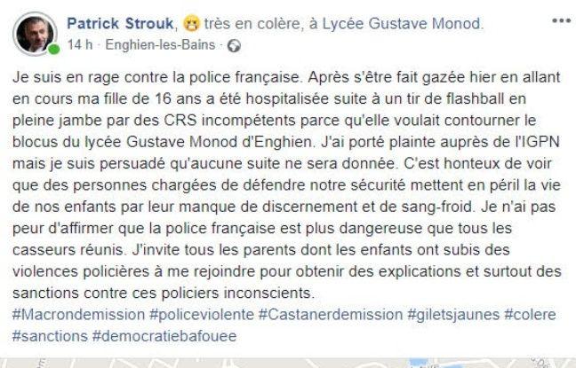 Le post Facebook de Patrick le père de Chloé, touchée par un flashball pendant le blocage de son lycée à Enghien-les-Bains.