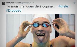 Un tweet du nageur Amaury Leveaux en hommage à Camille Muffat, décédée le 9 mars 2015 dans le crash d'un hélicoptère en Argentine.