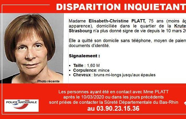 L'appel à témoins lancé par la Sûreté départementale du Bas-Rhin après la disparition d'Elisabeth-Christine Platt.