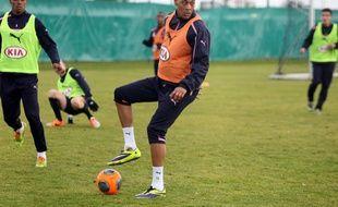 Guillaume Hoarau lors de son premier entraînement avec Bordeaux le lundi 6 janvier 2014.