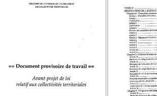 L'avantprojet de loi de réforme des collectivités territoriales