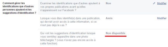 Depuis 2012, la suggestion d'identification «lorsque vous semblez apparaître sur une photo téléchargée» a été désactivée pour les utilisateurs européens