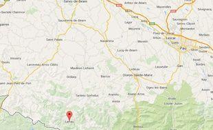 Capture d'écran Google map de Larrau, dans les Pyrénées-Atlantiques.