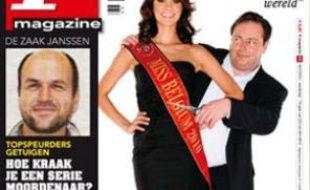 """La couverture de """"P Magazine"""" où Miss Belgique 2010 piétine le drapeau belge."""