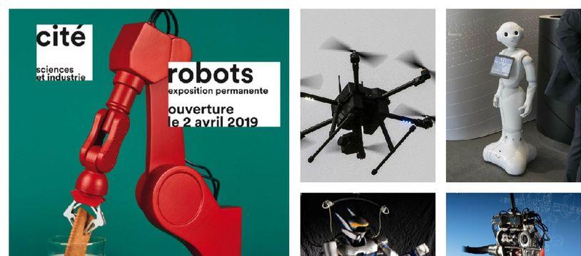 e gauche à droite: l'affiche de l'exposition «Robots» à la Cité des sciences; un drone, Pepper, le robot humanoïde HRP-2 et le robot bipède Rabbit.