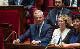 Bruno Le Maire sur les bancs de l'Assemblée Nationale à Paris, le 4 octobre 2017. Credit:CHAMUSSY / WITT/SIPA.