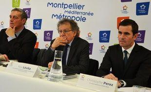 Philippe Saurel, maire et président de la métropole, Max Lévita, vice-président de la métropole, et Christophe Pérez, nouveau directeur de la Serm et la Saam.