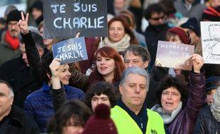 Strasbourg le 11 janvier 2015. Marche Republicaine reunissant près de 40.000 personnes.
