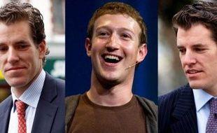 Le fondateur de Facebook, Mark Zuckerberg, entre les jumeux Winklevoss, Cameron (gauche) et Tyler (droite).