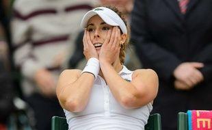 Alizé Cornet après sa victoire face à Serena Williams, le 28 juin 2014 à Wimbledon.