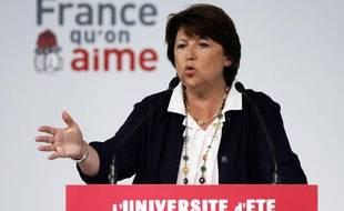 Martine Aubry lors de son discours de clôture de l'université d'été du PS à La Rochelle le 30 août 2009.