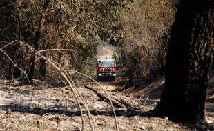Un camion de pompiers lors d'un incendie en 2021 dans les Pyrénées-Atlantiques (illustration)