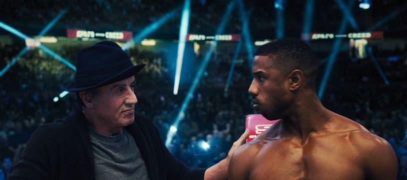 Sylvester Stallone et Michael B. Jordan sur le tournage de Creed I de Steven Caple Jr.