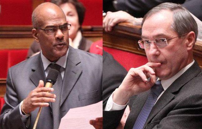 Montage montrant Serge Letchimy (g) et Claude Guéant à l'Assemblée nationale, le 7 février 2012.