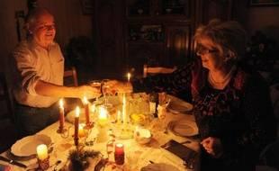 Réveillon à la bougie pour Christian et Marie-Thérèse le 24 décembre 2013 à Guengat en Bretagne