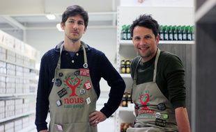 Charles Lottmann et Vincent Justin ont fondé l'épicerie Nous. Installée à Melesse, au nord de Rennes, elle lutte contre le gaspillage alimentaire.