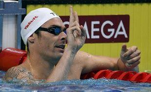 Camille Lacourt réagit à sa qualification en demi-finales du 50m dos aux championnats du monde de natation à Budapest, le 29 juillet 2017.