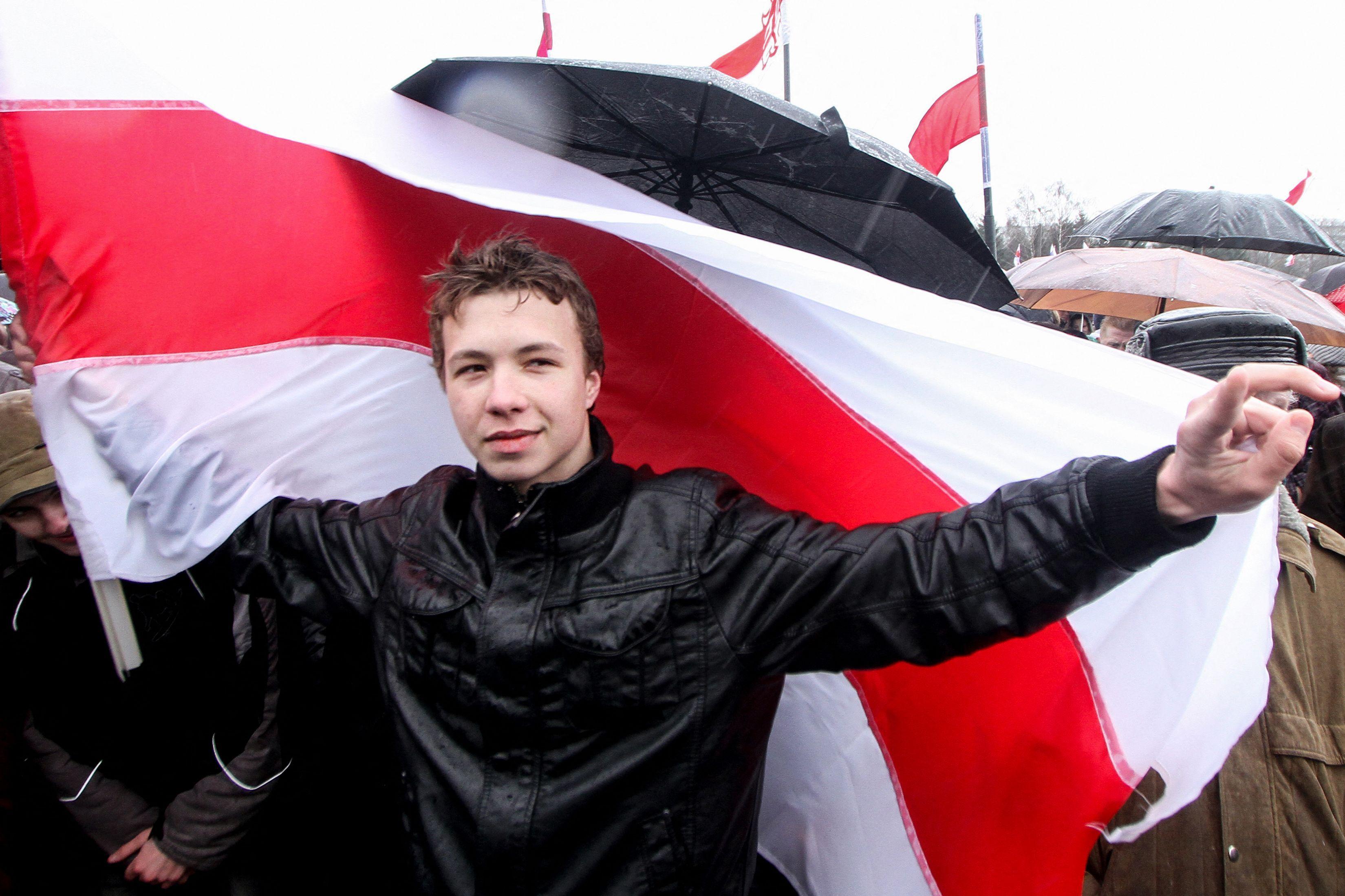 Roman Protassevitch lors d'une manifestation en mars 2012.