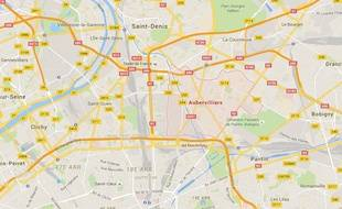 Googlemaps d'Aubervilliers en Seine-Saint-Denis.