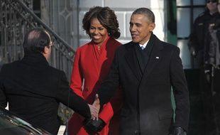 Mardi 11 février 2014, François Hollande a été accueilli dans les jardins de la Maison Blanche par le couple Obama.