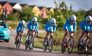 L'équipe Astana lors des championnats du monde de cyclisme le 21 septembre 2014.