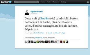 Capture d'écran du compte twitter de Pierre Haski, annonçant le cambriolage des locaux de rue89, le 21 décembre 2010.