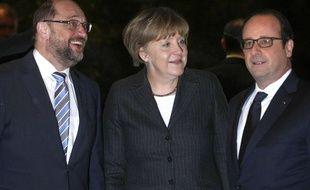 Angela Merkel et François Hollande ont dîné ensemble le 30 janvier 2015 à Strasbourg, en compagnie du président du président du Parlement européen, Martin Schulz.