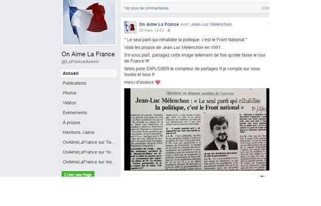 Capture d'écran d'un groupe Facebook d'extrême droite