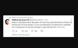 Le premier tweet de «Nikola Koh-Lanta»