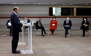 Jean Castex et ses ministre lors de la conférence de presse du 14 janvier 2021 sur la lutte contre le coronavirus.