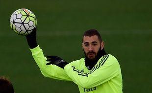 Karim Benzema à l'entraînement le 19 mars 2016.