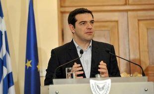 Le nouveau Premier ministre grec Alexis Tsipras, le 2 février 2015 à Nicosie, pour son premier voyage à l'étranger