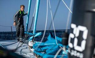 Le skipper originaire de Dunkerque Thomas Ruyant, ici à bord de son Imoca LinkedOut.