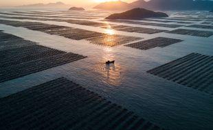 Coucher de soleil sur le Xiapu, une région hautement photogénique en Chine. (illustration)
