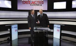 François Fillon et Jean-FrançoisCopé sur le plateau de l'émission «Des paroles et des actes», le 25 octobre 2012.