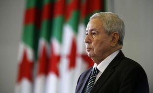 Abdelkader Bensalah lors de sa nomination à la tête de l'Algérie, en remplacement d'Abdelaziz Bouteflika, le 9 avril 2019.