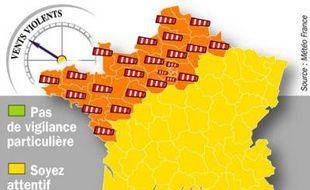 L'alerte orange a été étendue 29 départements jeudi 22 janvier 2009.