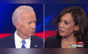 Joe Biden face à Kamala Harris lors du premier débat télévisé de la primaire démocrate, le 27 juin 2019.