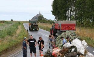 Des éleveurs bloquent des accès au Mont-Saint-Michel, le 21 juillet 2015