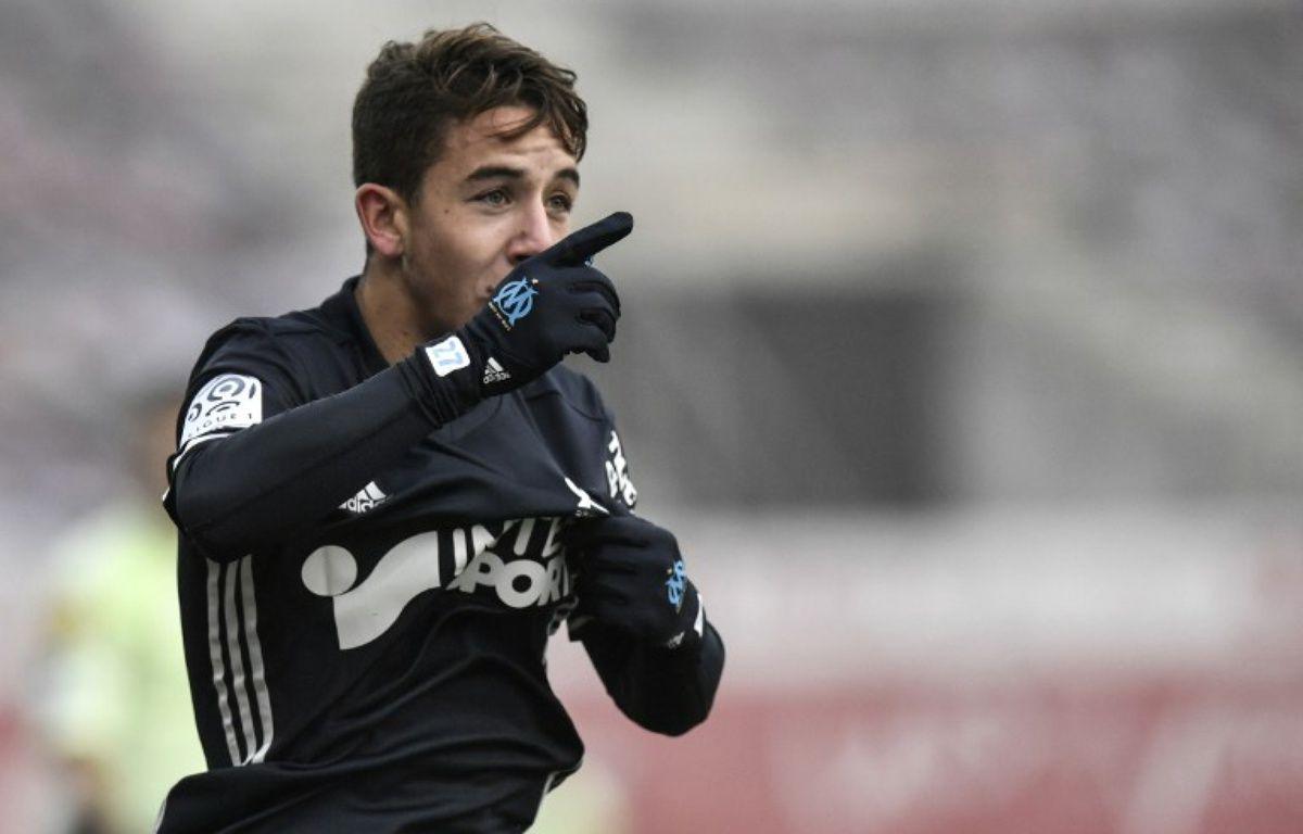 Maxime Lopez lors du match Dijon-OM, au cours duquel il a inscrit son premier but en L1, le 10 décembre 2016.  – JEFF PACHOUD / AFP