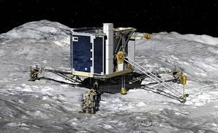 Projection de l'atterrissage de Philae sur la comète.